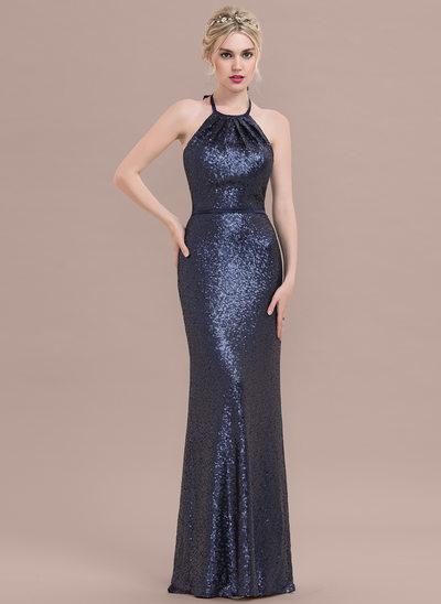 Sheath/Column Halter Floor-Length Sequined Prom Dress With Bow(s)