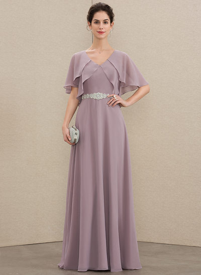 A-Line V-neck Floor-Length Chiffon Mother of the Bride Dress With Beading