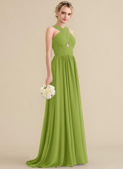 A-Line V-neck Sweep Train Chiffon Bridesmaid Dress With Ruffle