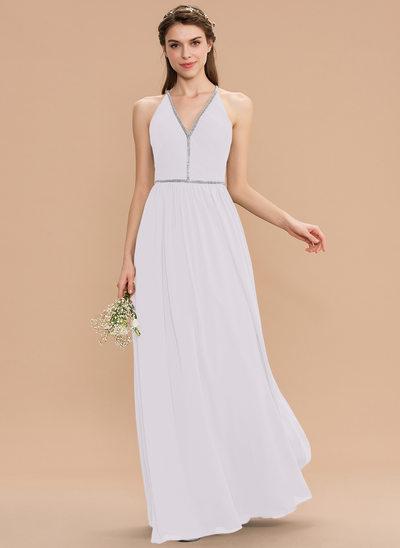 A-Line V-neck Floor-Length Chiffon Bridesmaid Dress With Ruffle Beading