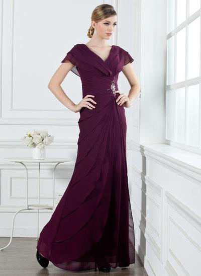 Трапеция/Принцесса V-образный Длина до пола шифон Платье для Отдыха с Рябь Бисер
