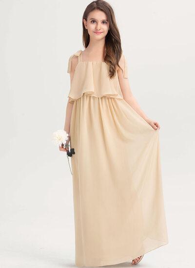 A-Linie Rechteckiger Ausschnitt Bodenlang Chiffon Kleider für junge Brautjungfern mit Schleife(n) Gestufte Rüschen