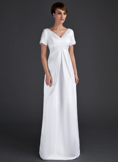 A-Line/Princess V-neck Floor-Length Satin Maternity Bridesmaid Dress With Ruffle Lace