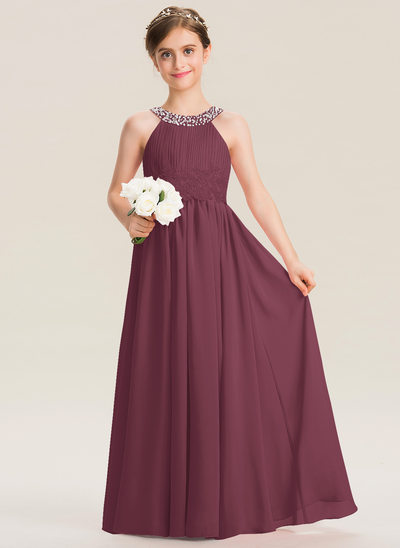 A-Line Scoop Neck Floor-Length Chiffon Lace Junior Bridesmaid Dress With Ruffle Beading Sequins