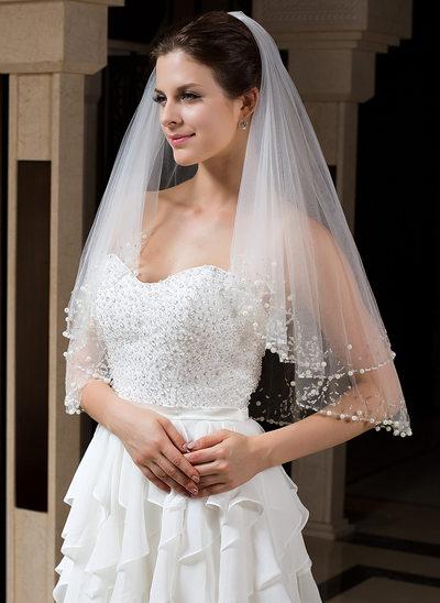 Zweischichtig Perlenbesetzter Saum Ellenbogen Braut Schleier mit Perlstickerei/Pailletten