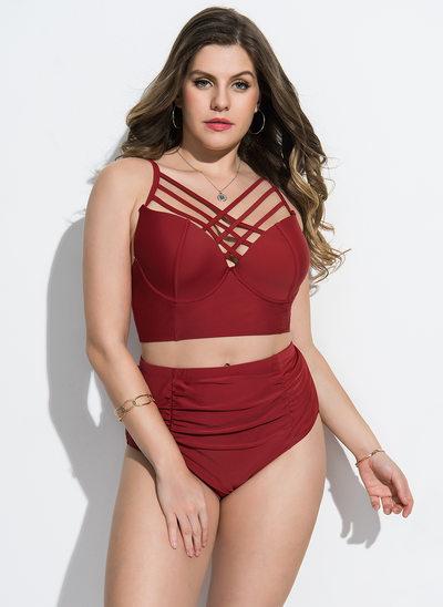 Tyylikäs Solid Color Elastaani Nailon Bikinit Uimapuku