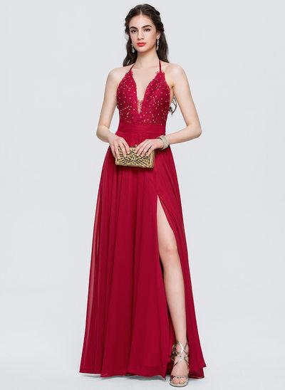 Vestidos princesa/ Formato A Cabresto Longos Tecido de seda Vestido de baile com Frente aberta