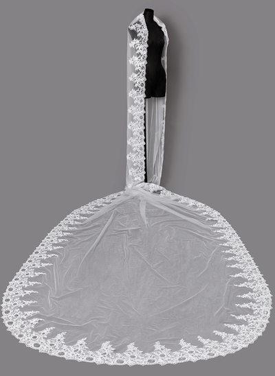 Uma camada Borda com aplicação de renda Véus de noivas capela com Renda