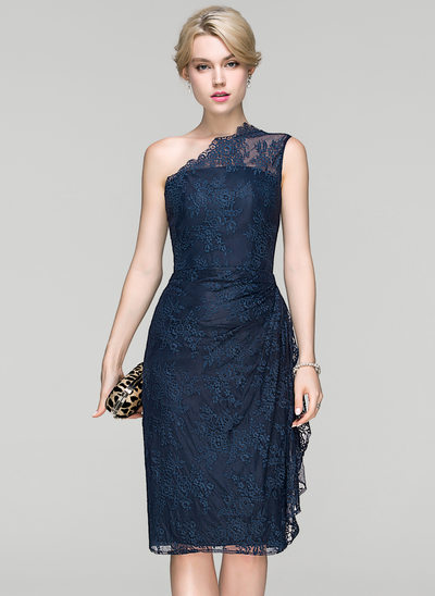 Sheath/Column One-Shoulder Knee-Length Lace Cocktail Dress With Ruffle