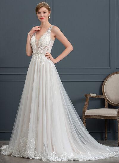 Duchesse-Linie/Princess V-Ausschnitt Hof-schleppe Tüll Brautkleid mit Perlstickerei Pailletten