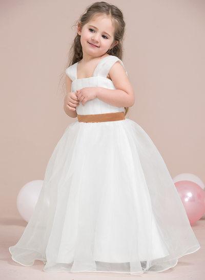 A-Line/Princess Floor-length Flower Girl Dress - Organza/Satin Sleeveless Straps