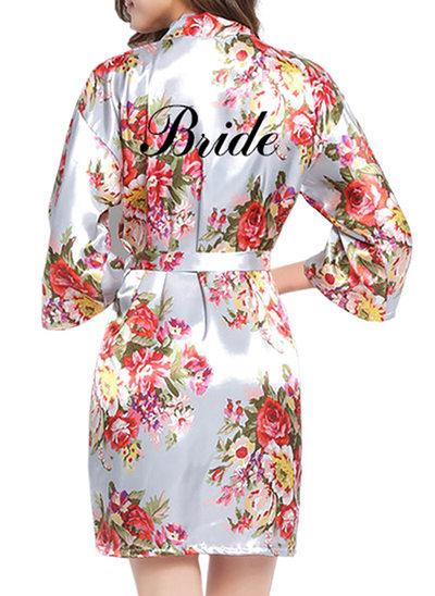 Individualisiert Braut Brautjungfern Blume Mädchen Polyester mit Kurz Personalisierte Roben Blumenroben Mädchen Roben