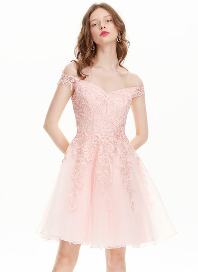 A-Linie/Princess-Linie Off-the-Schulter Knielang Tüll Lace Ballkleid