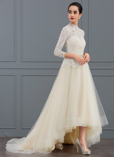 Corte A/Princesa Cuello alto Asimétrico Tul Vestido de novia con Cuentas