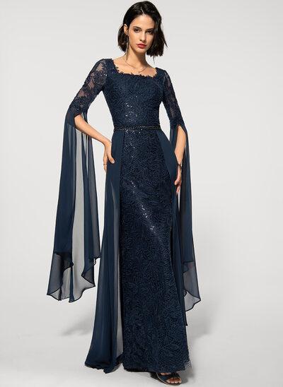 Платье-чехол квадратный вырез Длина до пола шифон Кружева Вечерние Платье с развальцовка блестки