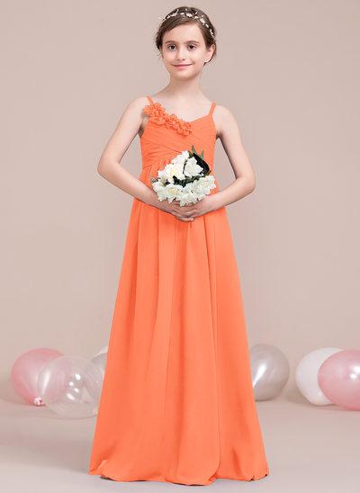 Vestidos princesa/ Formato A Decote V Longos Tecido de seda Vestido de daminha júnior com Pregueado fecho de correr