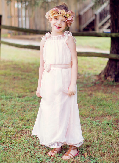 A-Line/Princess Ankle-length Flower Girl Dress - Chiffon/Lace Sleeveless Scoop Neck With Lace/Sash/Flower(s)