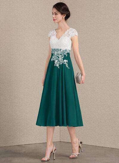 A-Line/Princess V-neck Tea-Length Chiffon Lace Mother of the Bride Dress