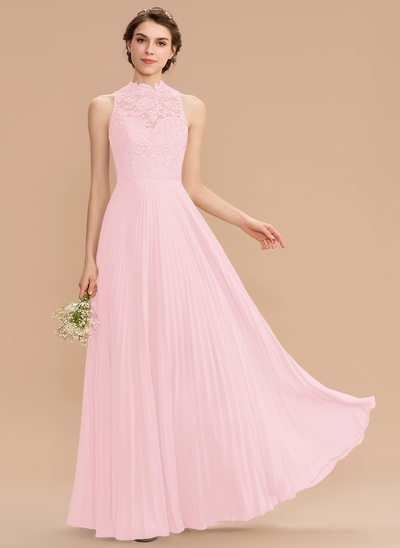 Corte A Decote redondo Longos Tecido de seda Renda Vestido de madrinha com Plissada