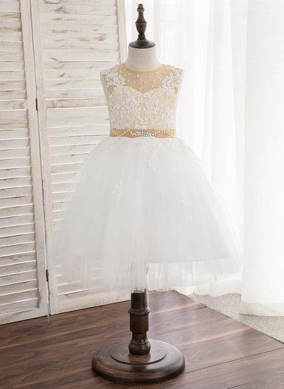 Vestidos princesa/ Formato A Coquetel Vestidos de Menina das Flores - Cetim/Tule/Renda Sem magas Decote redondo com Beading