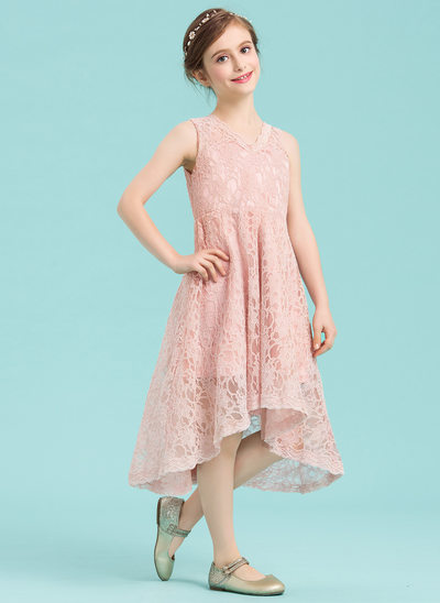 A-Line/Princess V-neck Asymmetrical Lace Junior Bridesmaid Dress