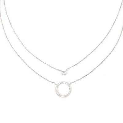 Silver Circle Double Pendant Necklace - Valentines Gifts