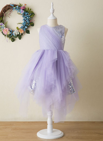 A-Line Knee-length Flower Girl Dress - Tulle/Sequined Sleeveless Scoop Neck With Sequins