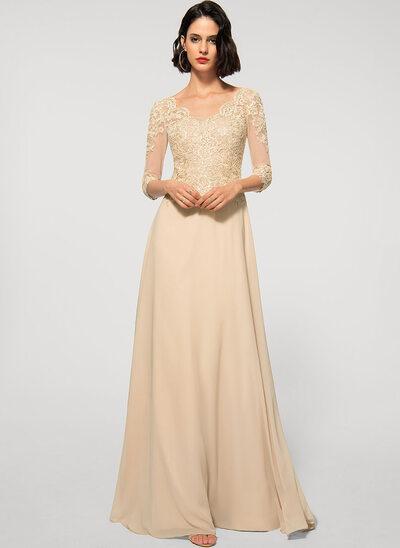 Corte A Decote V Longos Tecido de seda Renda Vestido de festa