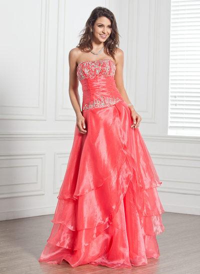 A-Linie/Princess-Linie Trägerlos Bodenlang Organza Quinceañera Kleid (Kleid für die Geburtstagsfeier) mit Bestickt Perlstickerei Pailletten Gestufte Rüschen