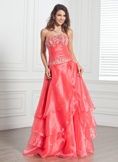 Vestidos princesa/ Formato A Sem Alças Longos Organza de Vestido quinceanera com Bordados Beading lantejoulas Babados em cascata