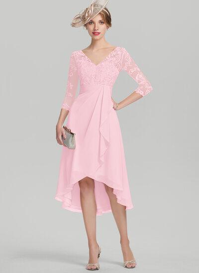 A-Linie/Princess-Linie V-Ausschnitt Asymmetrisch Chiffon Spitze Kleid für die Brautmutter mit Gestufte Rüschen