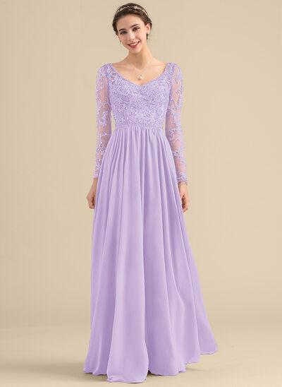 A-Line V-neck Floor-Length Chiffon Lace Bridesmaid Dress With Beading Pockets
