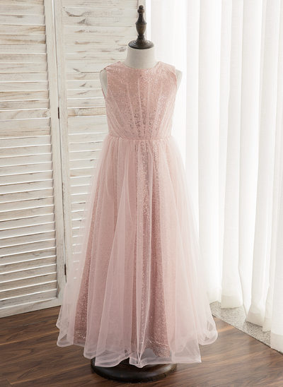 A-Line/Princess Ankle-length Flower Girl Dress - Tulle/Sequined Sleeveless Scoop Neck With Pleated