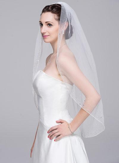 Einschichtig Perlenbesetzter Saum Ellenbogen Braut Schleier mit Perlstickerei/Pailletten