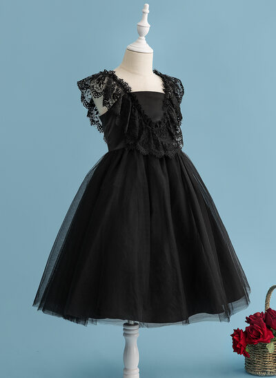 A-Line Tea-length Flower Girl Dress - Tulle/Lace Sleeveless V-neck With V Back