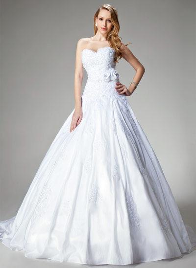 Balklänning Hjärtformad Chapel släp Taft Bröllopsklänning med Spetsar Pärlbrodering Blomma (or)