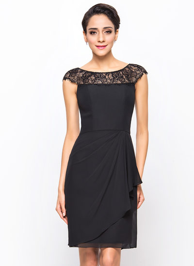 Sheath/Column Scoop Neck Knee-Length Chiffon Cocktail Dress With Lace Cascading Ruffles