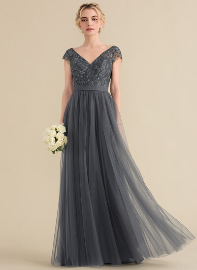 A-Linie/Princess-Linie V-Ausschnitt Bodenlang Tüll Spitze Abendkleid mit Perlstickerei Schleife(n)