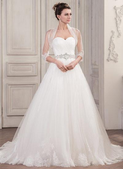 De baile Amada Cauda longa Tule Vestido de noiva com Pregueado Beading lantejoulas