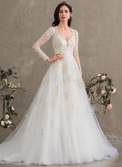 28125c17bb184 Ball-Gown/Princess Sweetheart Court Train Tulle Wedding Dress With Sequins