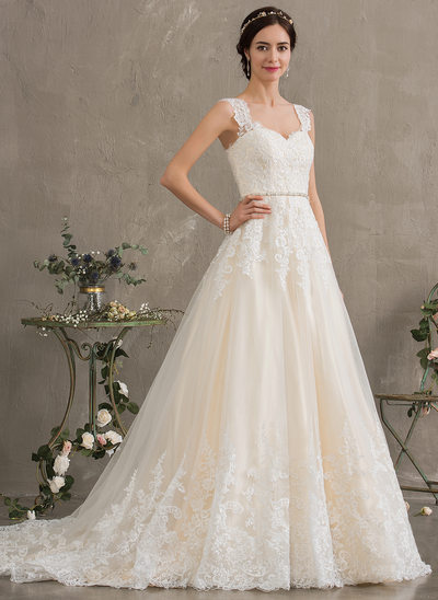 80e99a532e952 Ball-Gown/Princess Sweetheart Court Train Tulle Wedding Dress With Beading  Sequins