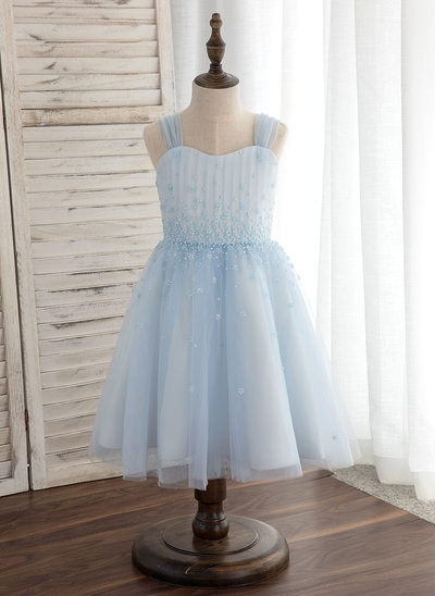 Princesový Po kolena Flower Girl Dress - Tyl Bez rukávů popruhy