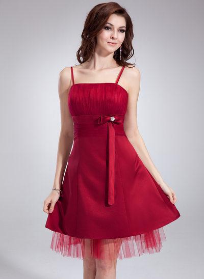 Empire Knee-Length Satin Homecoming Dress With Ruffle Beading Bow(s)