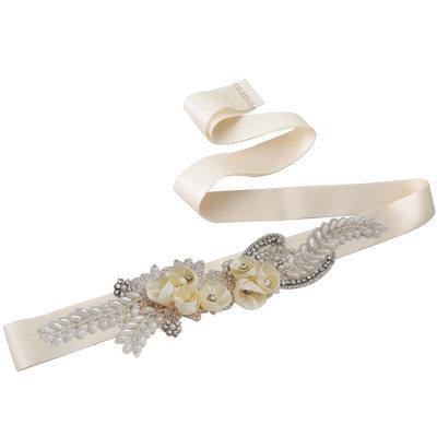 Elegant Satin Sash With Flower/Rhinestones/Imitation Pearls