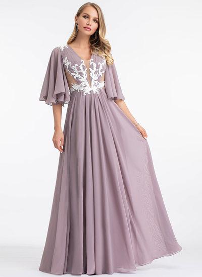 Corte A Decote V Longos Tecido de seda Vestido de festa com Renda