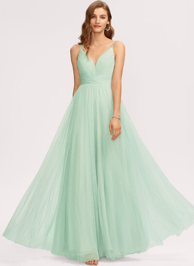 A-Line V-neck Floor-Length Tulle Bridesmaid Dress With Lace