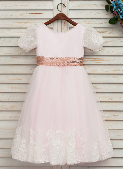 A-Line/Princess Knee-length Flower Girl Dress - Satin/Tulle/Lace/Sequined Short Sleeves Scoop Neck With Bow(s) (Undetachable sash)