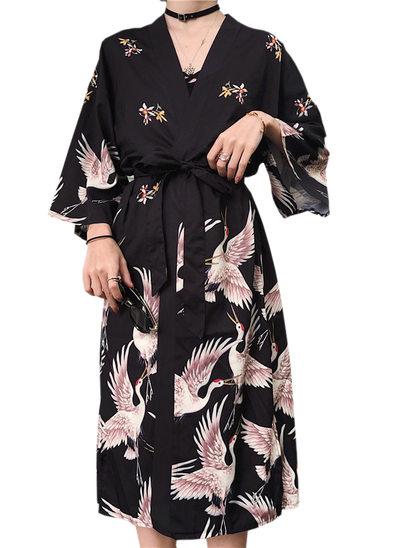 la mariée Demoiselle d'honneur Polyester avec Longueur genou Kimono robes