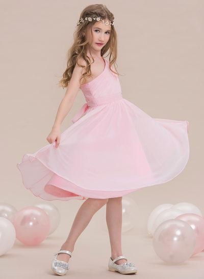 A-Linie/Princess-Linie Eine Schulter Knielang Chiffon Kleid für junge Brautjungfern mit Rüschen