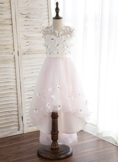 A-Line/Princess Asymmetrical Flower Girl Dress - Satin/Tulle Sleeveless Scoop Neck With Flower(s)